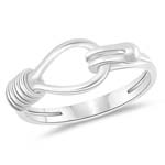 Hooked Love Knot Ring in 14K White Gold