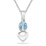 0.23 Cts of 4 mm AA Round Aquamarine Solitaire Heart Pendant in Silver