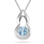 0.41 Cts of 5 mm AA Round Aquamarine Solitaire Pendant in Silver
