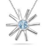 0.23 Cts of 4 mm AA Round Aquamarine Solitaire Sun Pendant in Sterling Silver