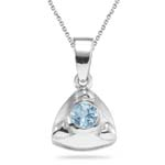 0.23 Cts Aquamarine Solitaire Pendant in Sterling Silver