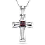 1.44 Cts Garnet Solitaire Cross Pendant in Silver