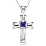 0.94 Cts Amethyst Solitaire Cross Pendant in Silver