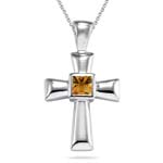 0.81 Cts Citrine Solitaire Cross Pendant in Silver
