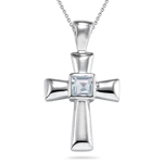 1.29 Cts Sky Blue Topaz Solitaire Cross Pendant in Silver