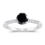 1.34-1.73 Cts Black & White Diamond Engagement Ring in 14K White Gold
