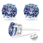 0.22 Cts of 3 mm A Round Tanzanite Stud Earrings in 14K White Gold