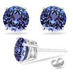 0.22 Cts of 3 mm AA Round Tanzanite Stud Earrings in 14K White Gold