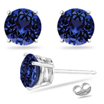 0.22 Cts of 3 mm AAA Round Tanzanite Stud Earrings in 14K White Gold