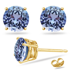 0.22 Cts of 3 mm A Round Tanzanite Stud Earrings in 14K Yellow Gold