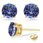 0.22 Cts of 3 mm AA Round Tanzanite Stud Earrings in 14K Yellow Gold