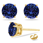 0.22 Cts of 3 mm AAA Round Tanzanite Stud Earrings in 14K Yellow Gold