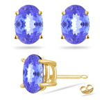 2.00 Cts of 7.5x5.5 mm A Oval Tanzanite Stud Earrings in 18K Yellow Gold