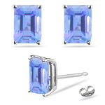 0.44 Cts of 5x3 mm A Emerald Tanzanite Stud Earrings in 14K White Gold