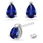 0.36 Cts of 5x3 mm AAA Pear Tanzanite Stud Earrings in 14K White Gold