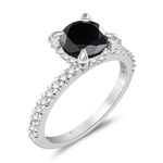 4.32 Cts Black & White Diamond Carrie Bradshaw like Engagement Ring in 14K White Gold