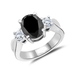1.50 Cts White & Oval Black Diamond Three Stone Engagement Ring in 14K White Gold