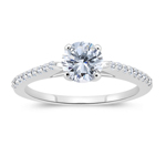1.17 Cts Diamond Engagement Ring in 14K White Gold