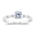 1.12 Cts Diamond Five Stone Engagement Ring in 14K White Gold