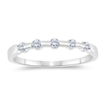0.15 Cts Diamond Five Stone Wedding Band in 14K White Gold