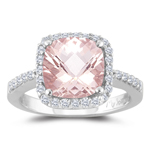 0.33 Cts Diamond & 1.62 Cts Morganite Ring in 14K White Gold