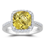 0.33 Cts Diamond & 1.75 Cts Yellow Beryl Ring in 14K White Gold