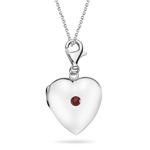 0.12 Cts Garnet Solitaire Multi-Purpose Heart Charm Locket Pendant in Silver