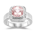 Halo 0.09 Cts Diamond & 1.62 Cts of 8mm AA Morganite Ring in 14K White Gold