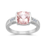 0.09 Cts Diamond & 1.62 Cts Morganite Ring in 14K White Gold