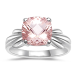 1.62 Cts of 8 mm AA Cushion Checker Board Morganite Solitaire Ring in 14K White Gold