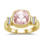0.09 Cts Diamond & 1.62 Cts Morganite Ring in 14K Yellow Gold