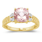 0.04 Cts Diamond & 1.62 Cts Morganite Ring in 14K Yellow Gold