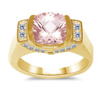 0.32 Cts Diamond & 1.62 Cts Morganite Ring in 14K Yellow Gold