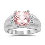 0.08 Cts Diamond & 1.62 Cts Morganite Ring in 14K White Gold