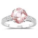 0.12 Cts Diamond & 1.62 Cts Morganite Ring in 14K White Gold