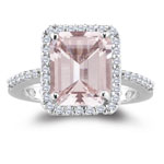 0.26 Cts Diamond & 2.65 Cts Morganite Ring in 14K White Gold