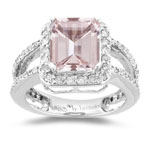 1.00 Ct Diamond & 2.65 Cts Morganite Ring in 14K White Gold