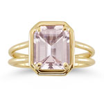 2.65 Cts of 10x8 mm AAA Emerald Morganite Solitaire Ring in 14K Yellow Gold