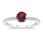 0.18 Cts Diamond & 1.25 Cts Garnet Engagement Ring in 14K White Gold