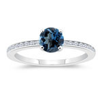0.18 Cts Diamond & 1.25 Cts AAA London Blue Topaz Engagement Ring in 14K White Gold