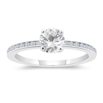 0.18 Cts Diamond & 1.14 Cts White Topaz Engagement Ring in 14K White Gold