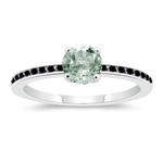 0.23 Cts Black Diamond & 0.85 Cts AAA Green Amethyst Engagement Ring in 14K White Gold