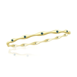 0.46 Cts Blue Diamond Fashion Bangle in 14K Yellow Gold