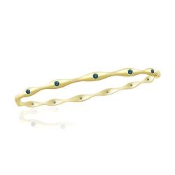 0.46 Cts Blue Diamond Fashion Bangle in 14K Yellow Gold