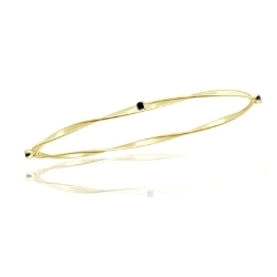 0.16 Cts Black Diamond Twisted Bangle in 14K Yellow Gold