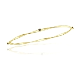 0.13 Cts Champagne Diamond Twisted Bangle in 14K Yellow Gold