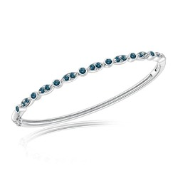 0.90 Cts Blue Diamond Fashion Bangle in 14K White Gold
