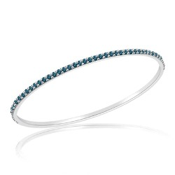 2.42 Cts Blue Diamond Eternity Bangle in 14K White Gold