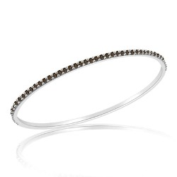 2.42 Cts Champagne Diamond Eternity Bangle in 14K White Gold
