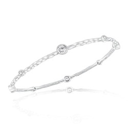 0.20 Cts Diamond & 1.08 Cts White Topaz Hammered Bangle in 14K White Gold